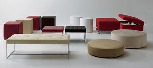 Pouf and benches, Puf en diferentes tamaños, formas y colores para la sala