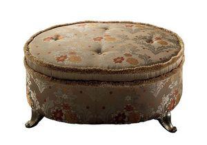 Sinfonia Pouf Palace, Otomana tapizada ovalada con patas de metal, clásico de lujo