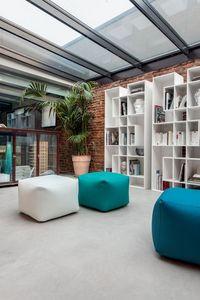 TRULY, Puf moderno para salas de estar, puf de cuero ecológico para el hogar