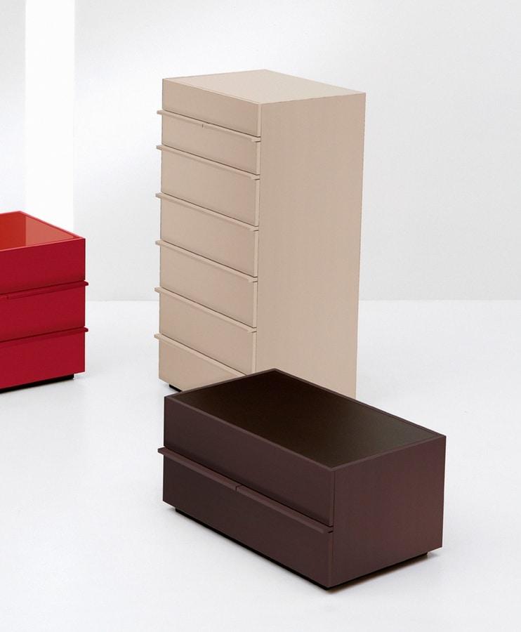 AKI dresser, Unidad 7 cajones en el diseño lineal, para el dormitorio