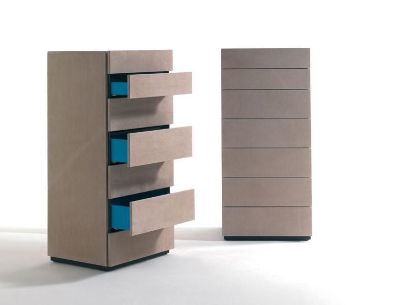 HARU NABUK dresser, Cajones semanales de madera cubiertos en cuero, varios colores