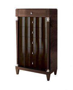 Heritage cómoda alta, Cómoda de madera con acabado bicolor