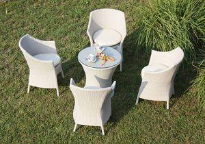 Frodo set, Silla trenzada y mesa, estructura de aluminio, uso al aire libre