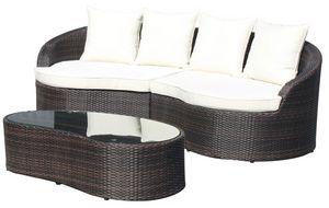 Ibiza Set, Fijado para exterior de aluminio, trenzado, para jardines