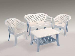 Lario set, Sofá y sillones de resina, para el jardín