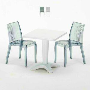Mesa de centro cuadrada blanca de 70x70 cm con 2 sillas coloreadas Bar al aire libre en el interior DUNE TERRACE, Conjunto de jardín con mesa y sillas.