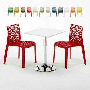 Mesa de centro cuadrada blanca de 70x70 cm con 2 sillas de colores Bar interior GRUVYER COCKTAIL, Conjunto de jardín con mesa y sillas.