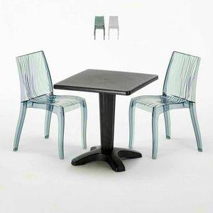 Mesa de centro cuadrada negra de 70x70 cm con 2 sillas coloreadas Bar al aire libre en el interior DUNE BALCONY, Conjunto de jardín con mesa y sillas.