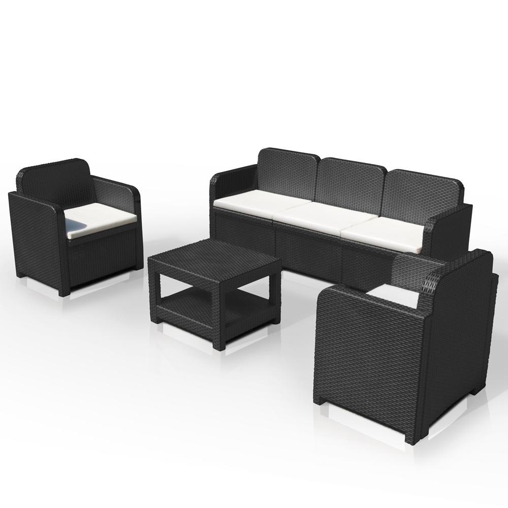 Conjunto de jardín, con sofá, en ratán, con cojines | IDFdesign