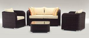 Nizza Set, Conjunto al aire libre con sofá, sillón y mesa de café, torcido