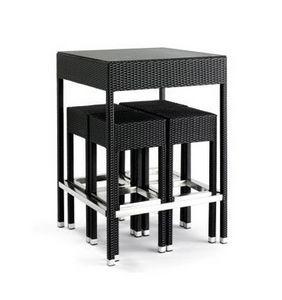 Outdoor set, Taburetes Tejidos y mesa para uso al aire libre, tapa de cristal