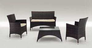 San Diego Set, Modernos asientos de aluminio y de mesa, para exteriores