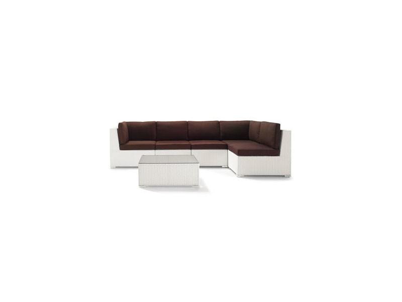 Set Giove, Sofá y mesa de café en mimbre natural o sintético