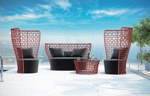 SET QUEEN, Conjunto de jardín con sofá, sillón y mesa auxiliar