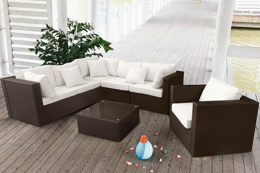 Conjunto de mimbre al aire libre con sofá angular y sillón | IDFdesign
