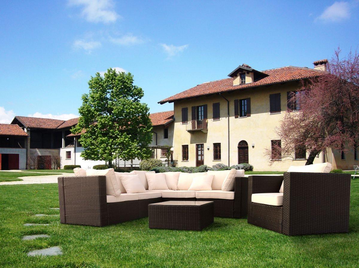 Conjunto de mimbre al aire libre con sofá angular y sillón   IDFdesign