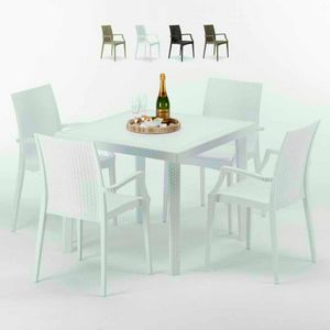 Tavolino Quadrato Bianco 90x90 Con 4 Sedie Esterno Bar ARM BISTROT LOVE, Conjunto de jardín con mesa y sillas.