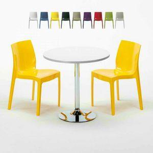 Tavolino Rotondo Bianco 70x70cm Con 2 Sedie Colorate Interno Bar ICE LONG ISLAND, Conjunto de jardín con mesa y sillas.