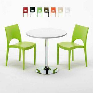 Tavolino Rotondo Bianco 70x70cm Con 2 Sedie Colorate Interno Bar PARIS LONG ISLAND, Conjunto de jardín con mesa y sillas.