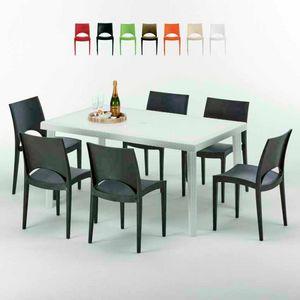 Tavolo Rettangolare Bianco 150x90 Con 6 Sedie Esterno Bar PARIS SUMMERLIFE, Conjunto de jardín con mesa y 6 sillas.