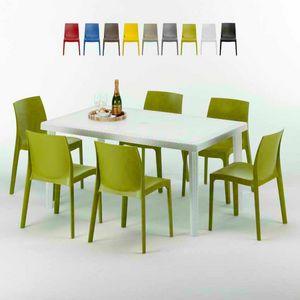 Tavolo Rettangolare Bianco 150x90 Con 6 Sedie Esterno Bar ROME SUMMERLIFE, Conjunto de jardín con mesa y 6 sillas.