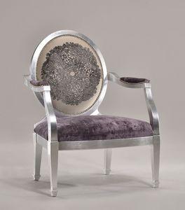 LUNA large armchair 8239A, Sillón acolchado con puf como reposapiés