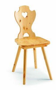 97 Curva cuore, Silla rústica en madera de pino