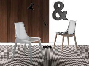 Art. 017 Orbital Wood, Silla con asiento de acrílico, patas de madera de haya