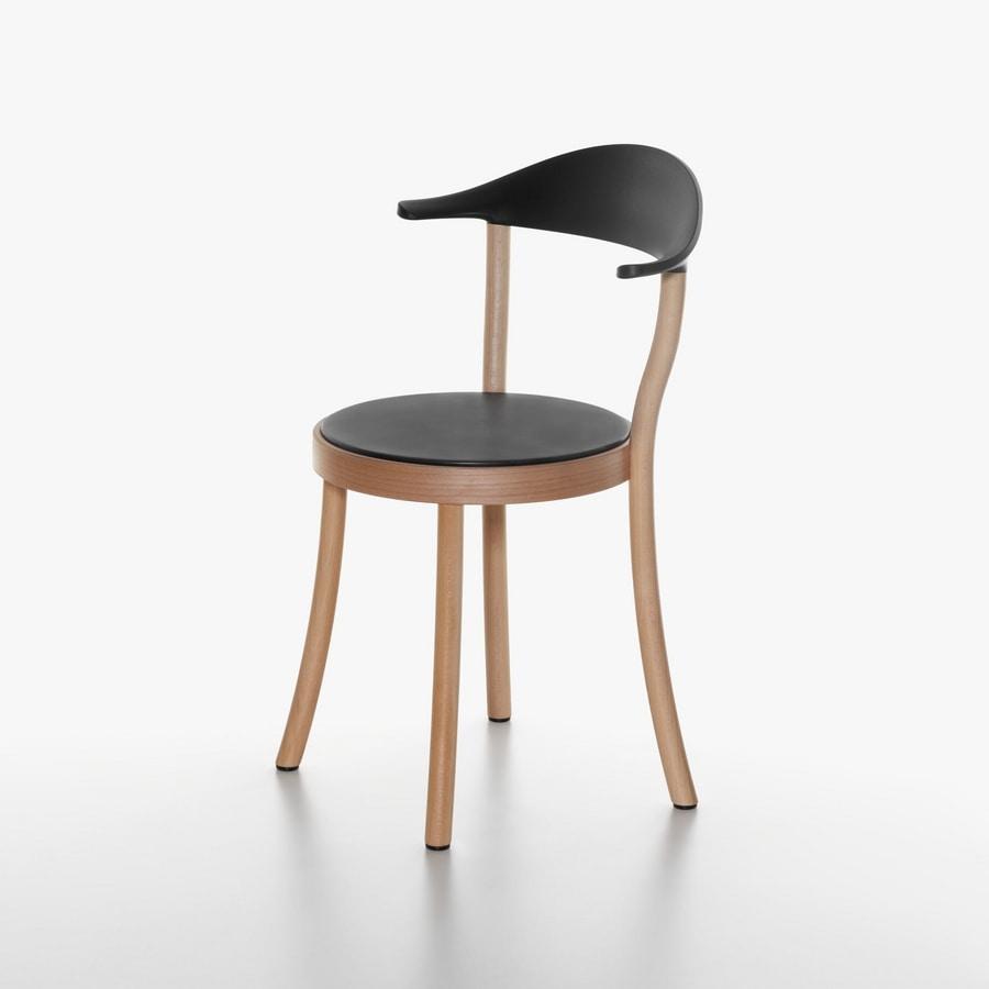 Monza Bistro mod. 1212-20, Silla con asiento redondo, en haya y plástico