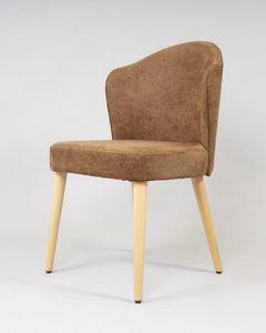 BS478S - Silla, Silla de madera de haya con asiento tapizado.