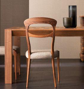 Elettra Art. EL143, Silla de madera de nogal con asiento acolchado