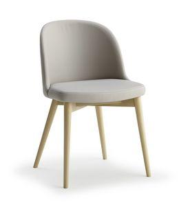 Emma, Silla de madera con asiento y respaldo tapizados.