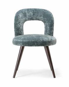 HOLLY SIDE CHAIR 065 S, Silla con patas de madera maciza y asiento tapizado.