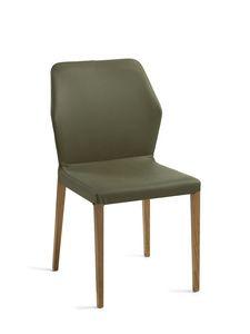 Mirò patas de madera, Silla con patas de madera, asiento y respaldo tapizados.