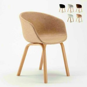 Sedia In Metallo Legno Tessuto Per Cucina Bar Scandinavo KOMODA, Silla tapizada tapizada