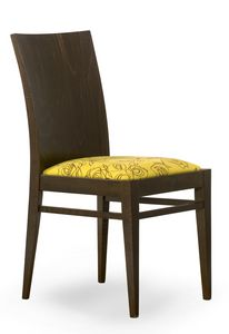 Sirio, Silla con respaldo de madera y asiento acolchado