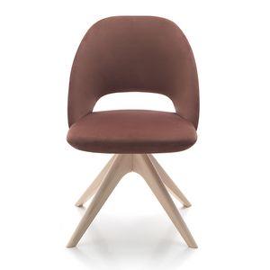 Vivian chair, Silla tapizada con base de madera