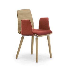 Zerosedici Wood 4GL, Silla de madera con reposabrazos acolchados y asiento