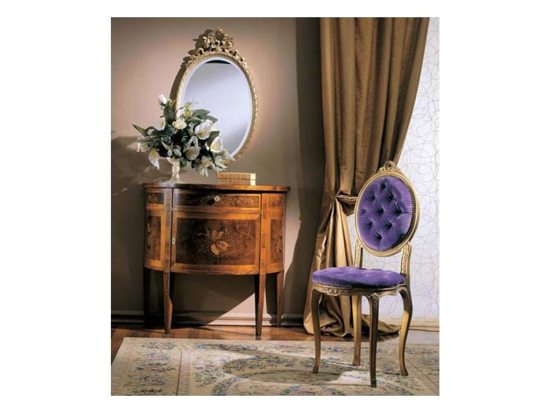 3290 CHAIR, Silla de madera con relleno, estilo clásico y lujoso