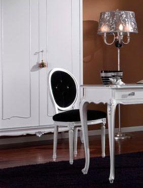 3620 SILLA, Lacado blanco silla, asiento acolchado, para el comedor