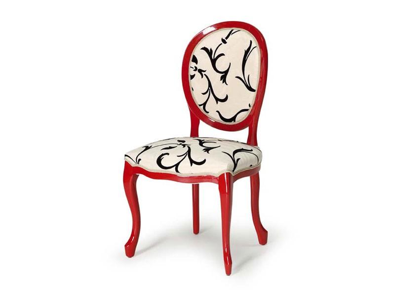 Art.417 chair, Silla de madera pulida, asiento y respaldo tapizados
