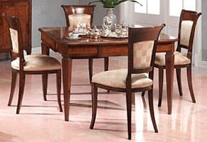 Art. 962 table Carlo X, Mesa de comedor precioso, embutido, final antiguo de nogal