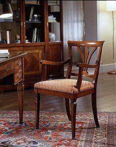 D 602, Silla en cerezo, con apoyabrazos y asiento tapizado