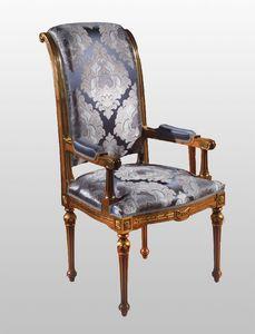 F500 Silla, jefe de mesa de lujo de estilo clásico, en madera tallada sólida