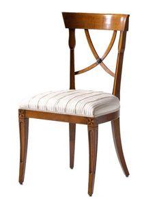 Fontainebleau VS.1237, Silla en madera de cerezo con asiento tapizado, ideal para salas de estar de estilo clásico y lujoso