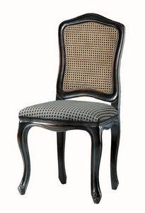 Kandisky RA.0985, Silla en lacado negro, asiento tapizado, paja en la espalda