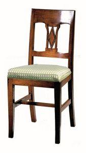 Manciano ME.0966.T, Silla de madera de nogal, con asiento acolchado, de estilo clásico