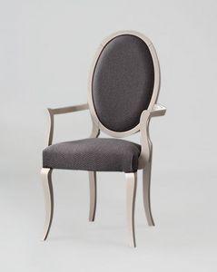 S16P, Elegante silla con reposabrazos, respaldo ovalado
