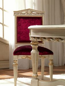 San Pietroburgo Art. SED02/VP/L51, Silla tallada para comedor clásico.
