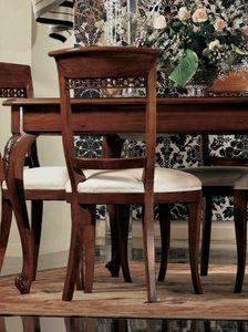 Settecento silla, Silla tapizada de madera de nogal maciza, pulida, clásico